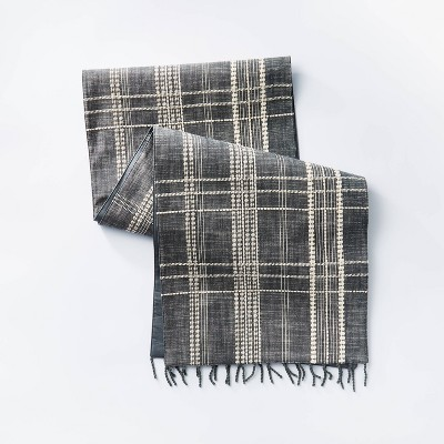 """72"""" x 14"""" Cotton Plaid Table Runner Blue - Threshold™ designed with Studio McGee"""