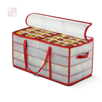 """OSTO Clear Plastic Christmas Ornament Storage Box Stores Up to 128 Ornaments of 3""""; 2-way zipper,Carry Handles. Tear Proof and Waterproof"""