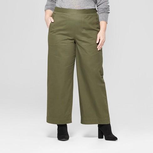 3b46a7be1a93c Women s Plus Size Wide Leg Crop Pants - Prologue™ Olive 16W   Target