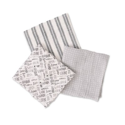 Red Rover Cotton Muslin Swaddle - Love Language 3pk