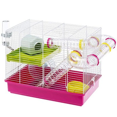 Ferplast Laura Interactive Hamster Cage Enclosure Habitat with Translucent Play Tubes, Food Dish, Water Bottle, and Exercise Wheel