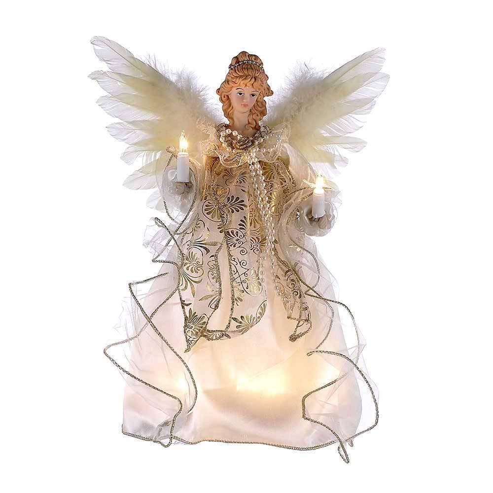 """Image of """"12"""""""" Kurt Adler 10 Light Angel Tree Topper Ivory and Gold"""""""