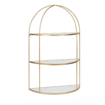 """21"""" x 32"""" Freade Tiered Decorative Wall Shelf White/Gold - Kate & Laurel All Things Decor"""