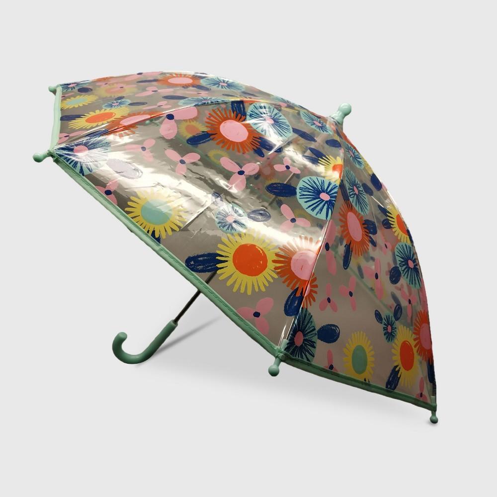 Image of Toddler Girls' Flower Printed Stick Umbrella - Cat & Jack, Multi-Colored
