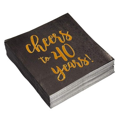 """Blue Panda 50-Pack Cheers to 40 Years 40th Birthday Disposable Paper Napkin 5x5"""" Black Gold Foil Party Supplies"""