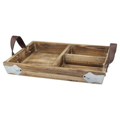 Wood Tray with Leather Handles - CKK Home Décor