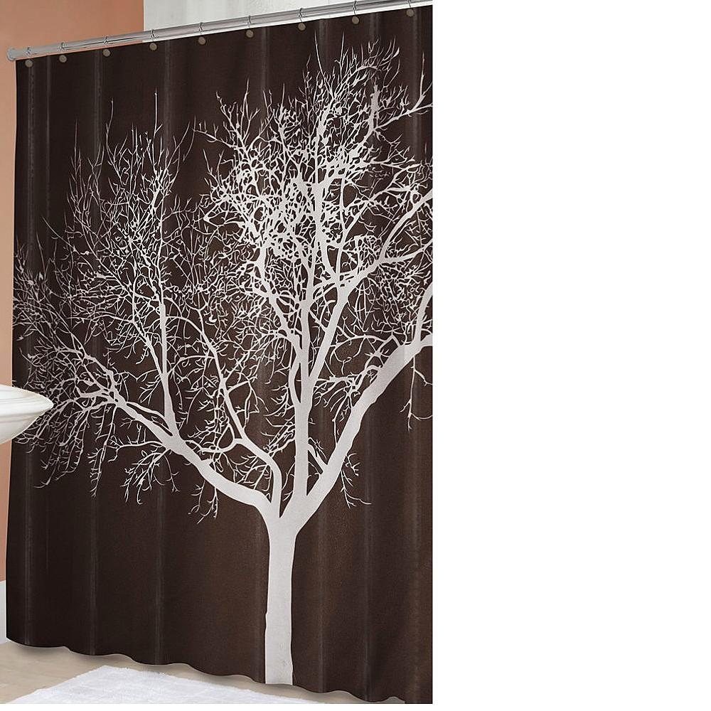 Image of Tree Shower Curtain Chocolate - Splash Home