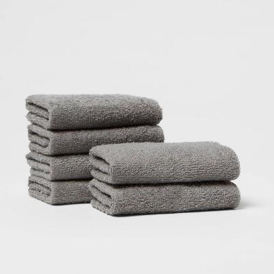 6pk Washcloth Set Dark Gray - Room Essentials™