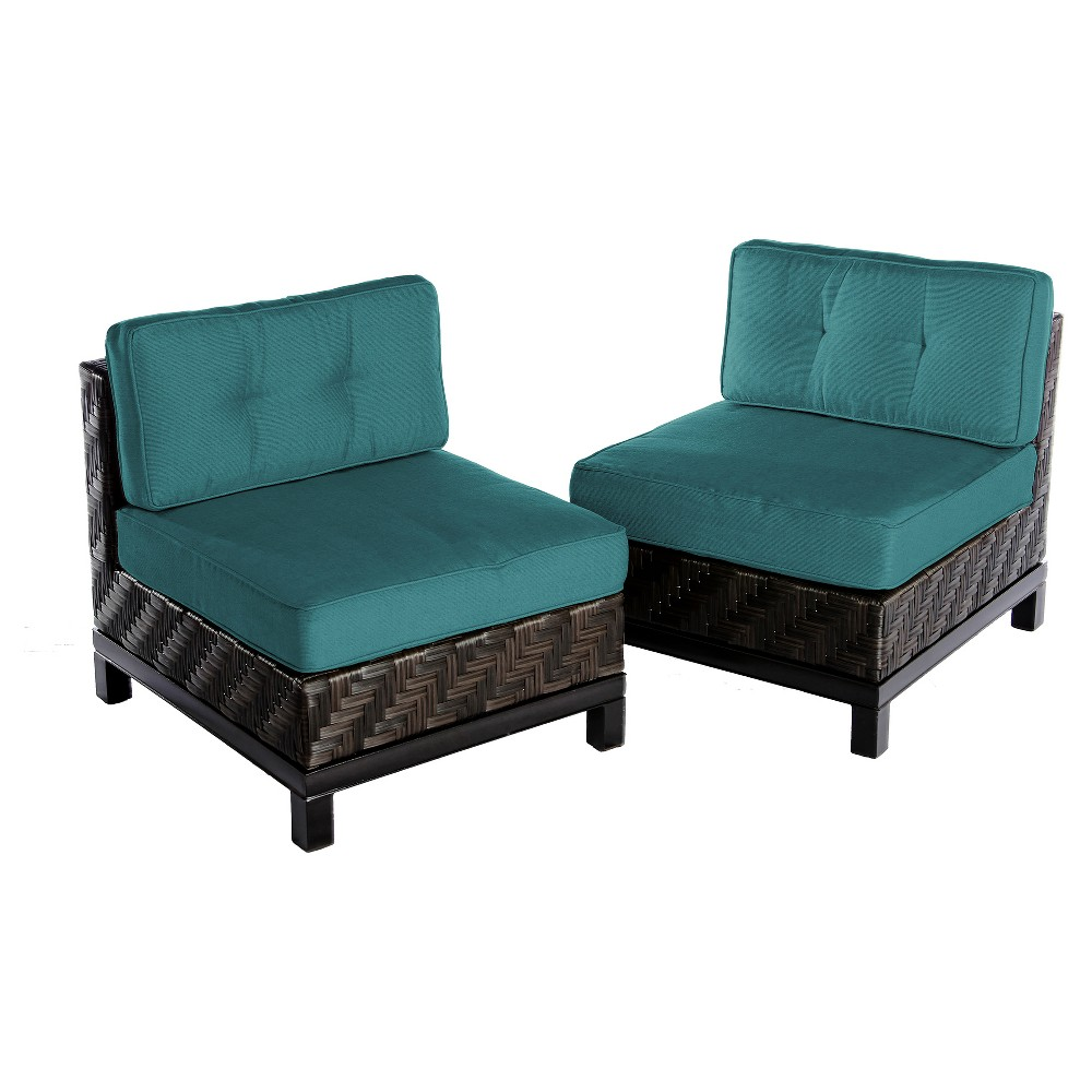Rachel 2pk All-Weather Wicker Patio Armless Chairs - Spectrum Peacock - AE Outdoor