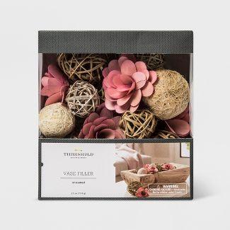 Unscented Sun-Kissed Palm Flower Mix Vase Filler Coral/Natural - Threshold™