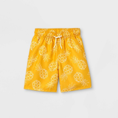 Boys' Pineapple Swim Trunks - Cat & Jack™ Yellow - image 1 of 2
