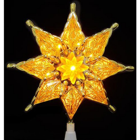 Northlight 8 Gold Mosaic 8 Point Star Christmas Tree Topper Clear Lights