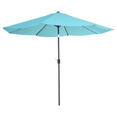 10' Aluminum Patio Umbrella with Auto Tilt - Blue - Pure Garden