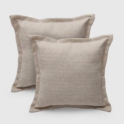 2pk Square Light Natural Outdoor Pillows - Threshold™