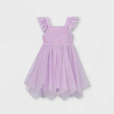 Toddler Girls' Adaptive Abdominal Access Sparkle Tutu Dress - Cat & Jack™ Purple