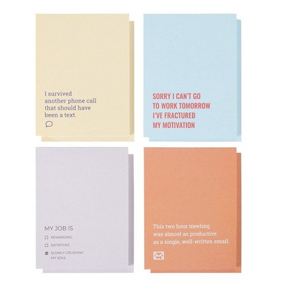 """Funny Sarcastic Notepads - 8-Pack Memo Note Pads for Work and Office, Funny Novelty Gift for Adult, Coworker, 4 Assorted Design, 4.25x5.5"""""""