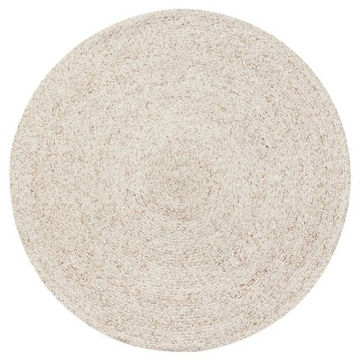 Light Cream Solid Braided Round Area Rug 8' - Anji Mountain