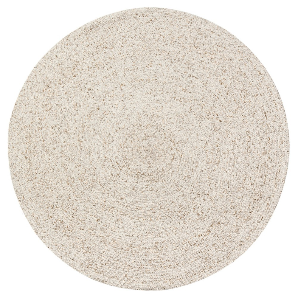 Light Cream Solid Braided Round Area Rug 6' - Anji Mountain