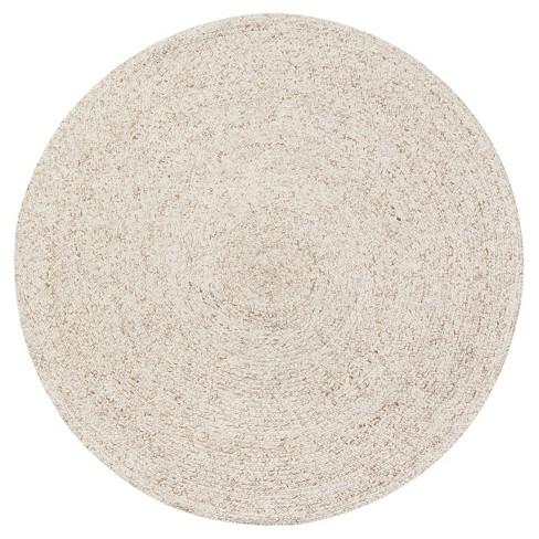 Light Cream Solid Braided Round Area, Round Cream Rug