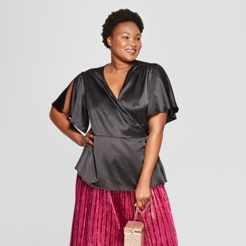 f3ef8abd89b Women s Plus Size Satin Wrap Short Sleeve Top - Ava   Viv™ Black 3X ...