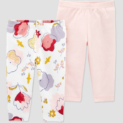 Baby Girls' 2pk Organic Floral Pull-On Pants - little planet organic by carter's White/Pink 6M