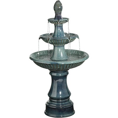 """John Timberland Outdoor Floor Water Fountain with Light LED 46"""" High Three Tier for Yard Garden Patio Deck Home"""