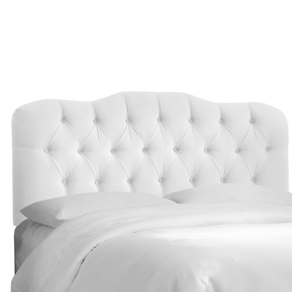 Seville Microsuede Headboard - Premier White - Full - Skyline Furniture