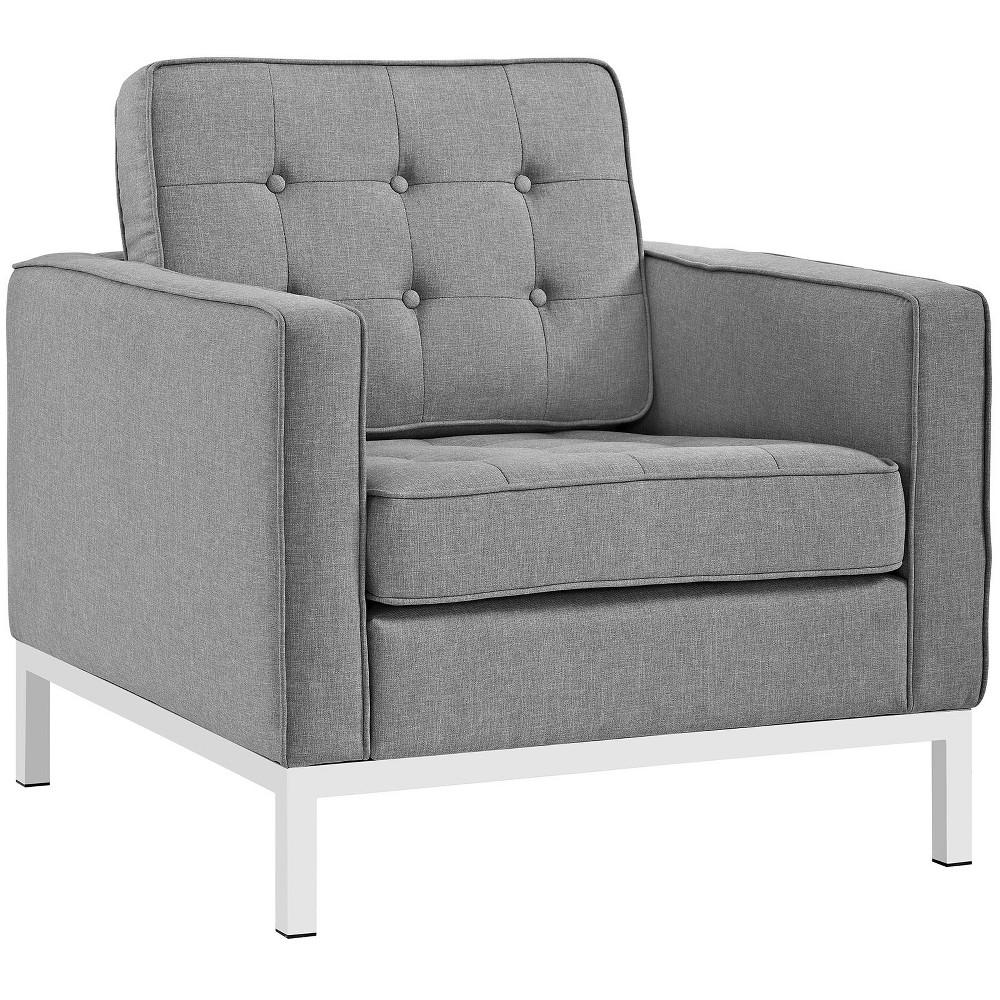Loft Upholstered Fabric Armchair Light Gray Modway