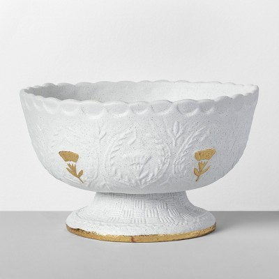 10.8  x 6.1  Decorative Stoneware Bowl White/Gold - Opalhouse™