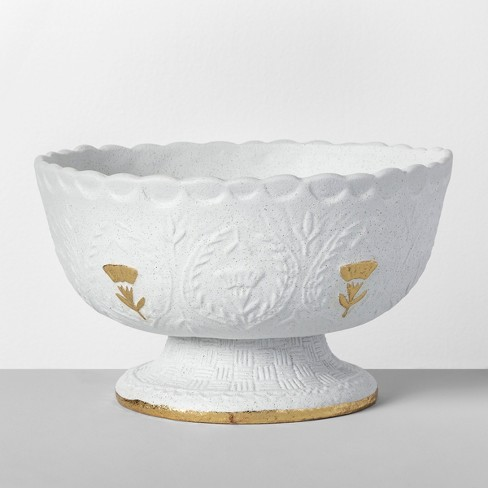 """10.8"""" x 6.1"""" Decorative Stoneware Bowl White/Gold - Opalhouse™ - image 1 of 4"""