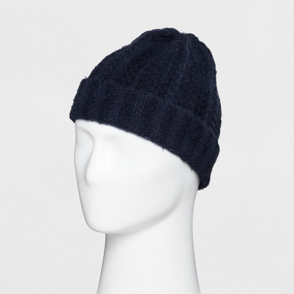 Men's Fluffy Cable Cuffed Beanie - Goodfellow & Co Navy (Blue) One Size