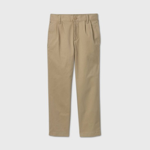 Boys' Stretch Uniform Pleated Chino Pants - Cat & Jack™ - image 1 of 3