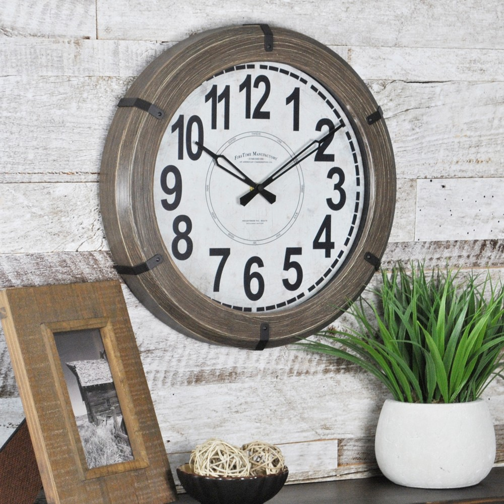 "Image of ""14"""" Modern Rustic Wall Clock Walnut - FirsTime"""