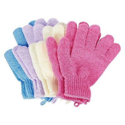 Juvale 4 Pack Exfoliating Gloves, Shower Scrub Wash Mitts, Bath Gloves for Spa