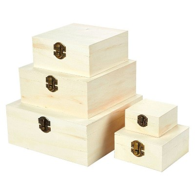 Juvale 5 Pieces Unfinished Wood Jewelry Box, DIY Jewelry Box with Hinged Lid and Front Clasp for Art, Crafts, Home Storage