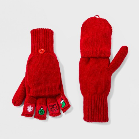 womens christmas icons mittens red - Christmas Mittens