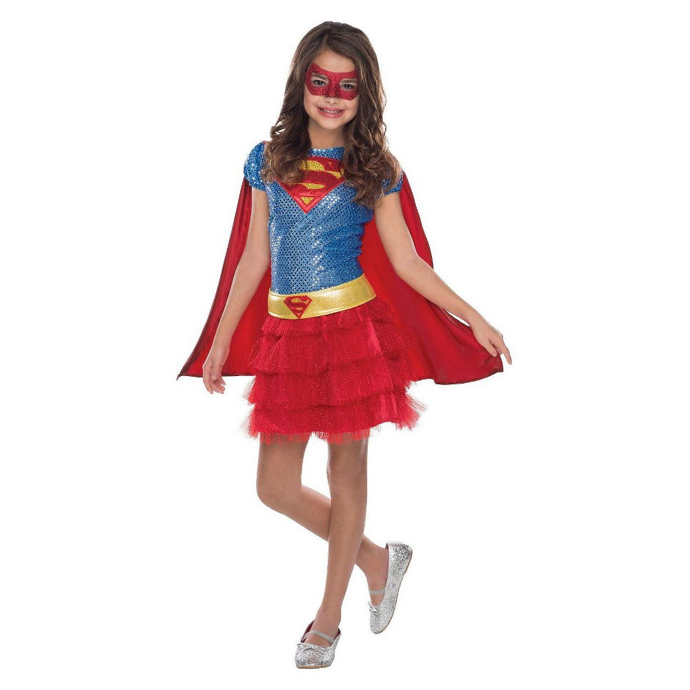Image of Halloween Supergirl Toddler Girls' DC Comics Sequin Costume 3T-4T, Girl's, Size: Small, Red