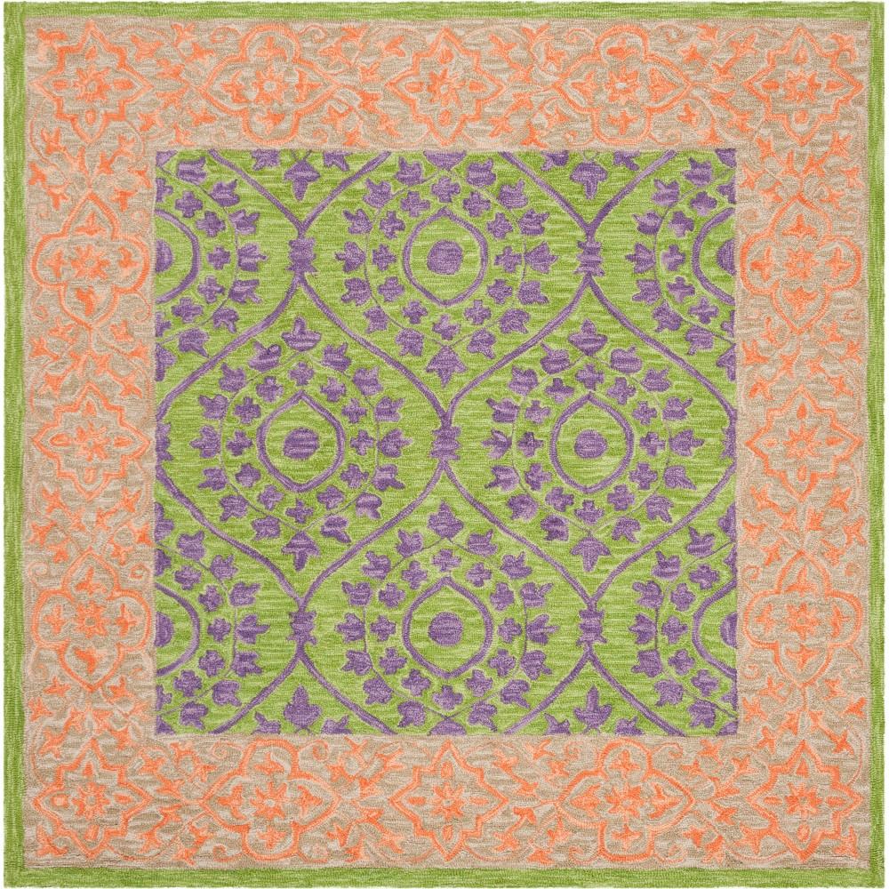 5'X5' Leaf Hooked Square Area Rug Green/Violet - Safavieh