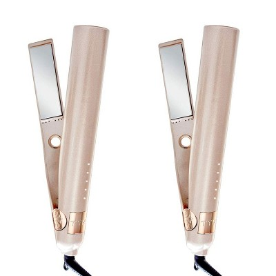 TYME Iron Pro 2-in-1 Hair Curler and Straightener with 5 Adjustable Heat Settings and Titanium Plates (2 Pack)