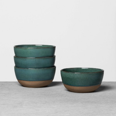 4pk Stoneware Reactive Exposed Base Mini Bowl Teal - Hearth & Hand™ with Magnolia