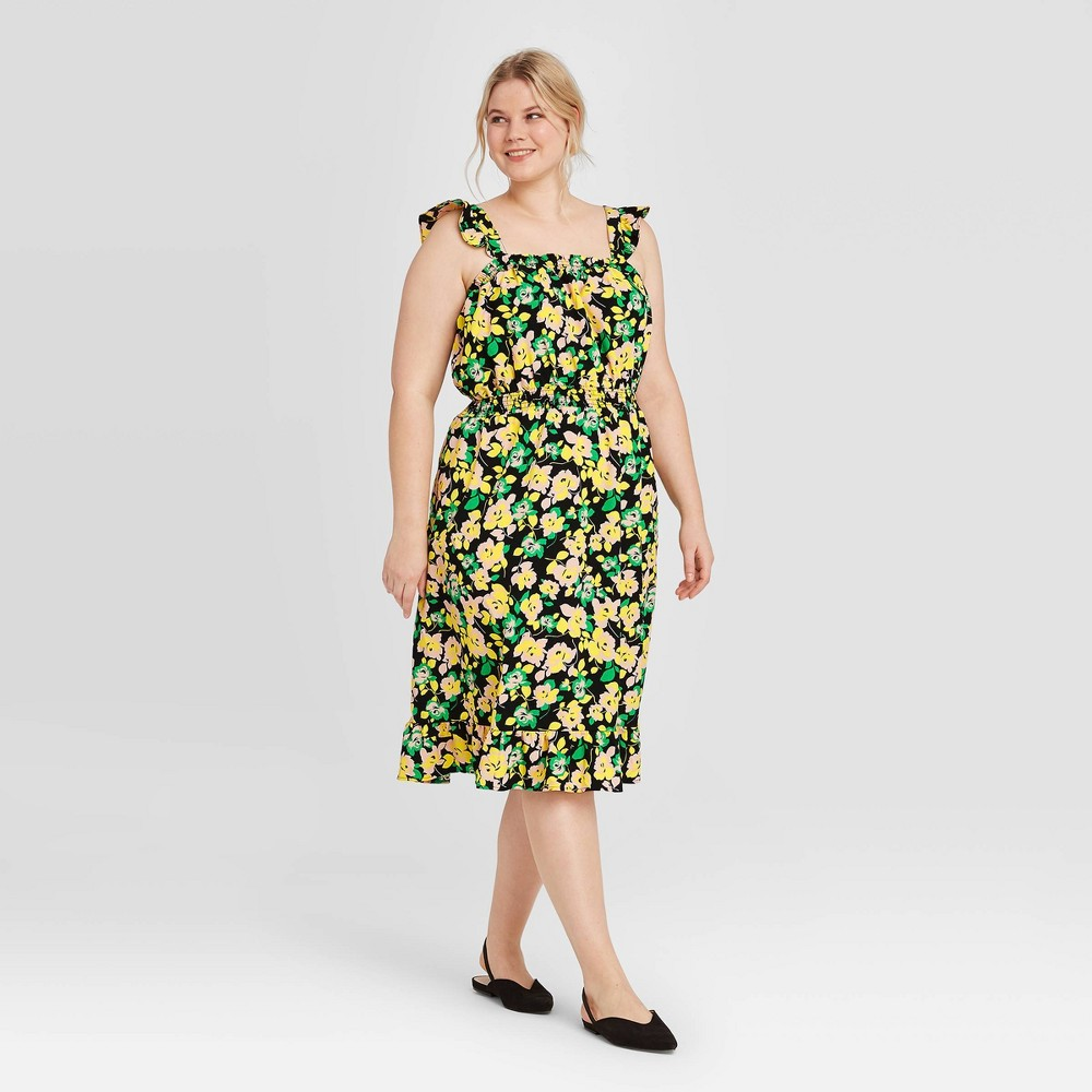 Women's Plus Size Floral Print Sleeveless Dress - Who What Wear Green 1X, Black was $34.99 now $24.49 (30.0% off)