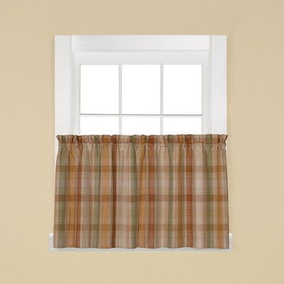 Saturday Knight Ltd Cooper Collection High Quality Modern Tailored Yarn Dyed Woven Rod Pocket Window Tiers & Valance in Red Color