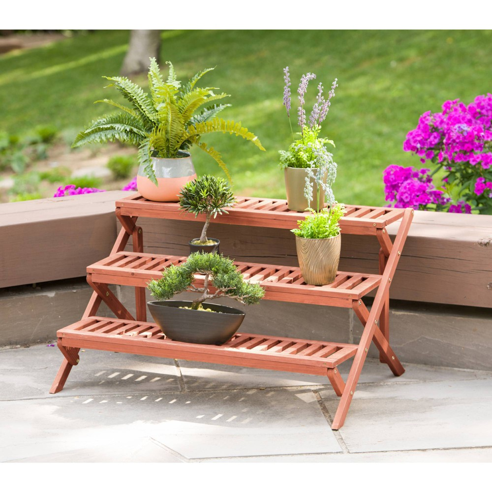 Image of 20 H Novelty Wood Planter Stands And Holders - Brown - Leisure Season