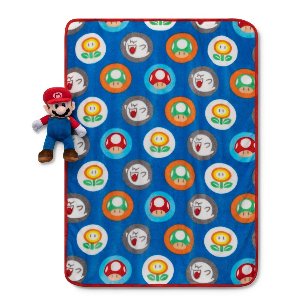 "Image of ""Super Mario 40""""x50"""" Hat Toss Throw and Pillow Set"""