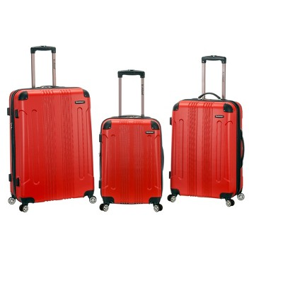 Rockland 3pc ABS Luggage Set - Red