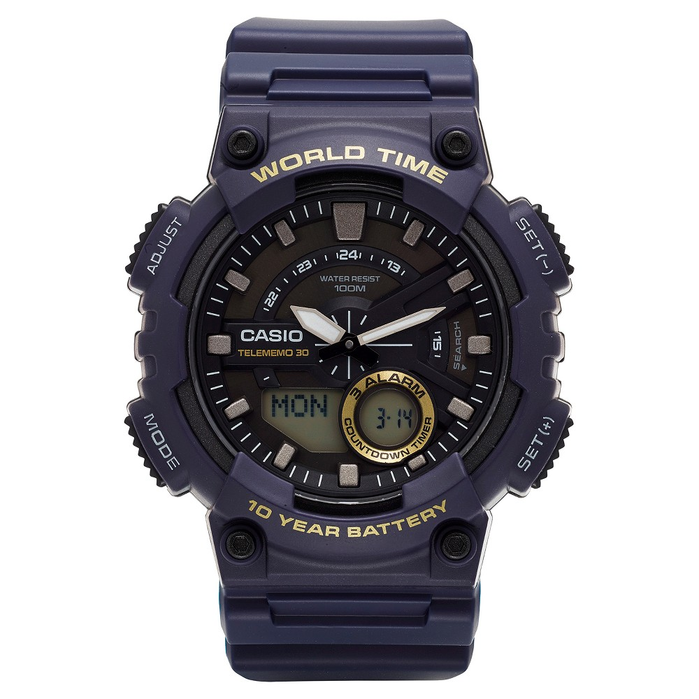 Image of Casio Men's Ana-Digi Watch - Blue (AEQ110W-2AVCF), Size: Small