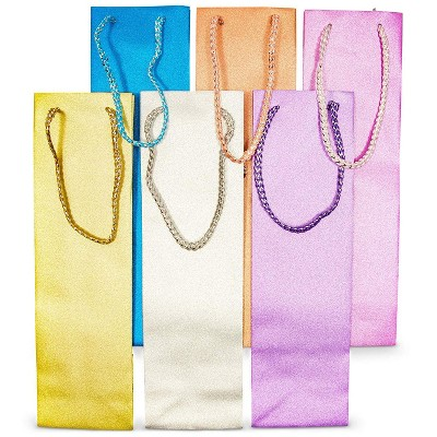Bright Creations 12-Pack Wine Gift Bag 6 Colors Shimmer Glitter Wine PP Bags for Gifting Bottle of Wine Sturdy Carrier Handle Great for Events Parties