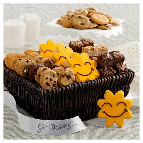 Mrs Fields Bright Sized Basket Includes 36 Assorted Nibblers Bite Cookies 18 Brownie Bites