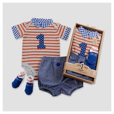 Baby Aspen Boys' My First Birthday 3pc Dapper Dude Outfit - 12-18M