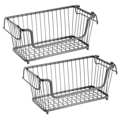 mDesign Stackable Metal Food Storage Basket with Handles, 2 Pack